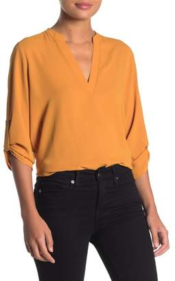 Lush 3/4 Sleeve Collared Blouse