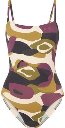 Eres Aquarelle Camouflage-print Swimsuit - Army green