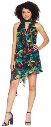 Maggy London Hot Tropics Printed Chiffon Swing Dress Women's Dress