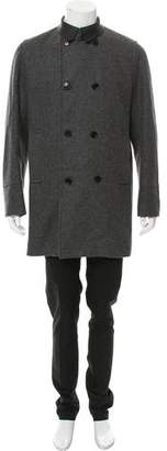 Christian Dior Leather-Trimmed Wool Coat