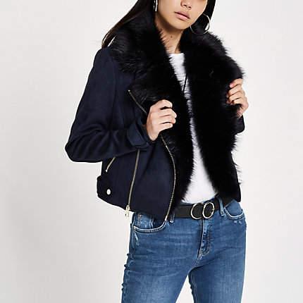 Womens Navy suede faux fur trim biker jacket