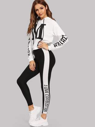 Shein Letter Print Hoodie and Leggings Set