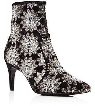 Charles David Women's Pointed Toe Floral Firework Embroidered Booties