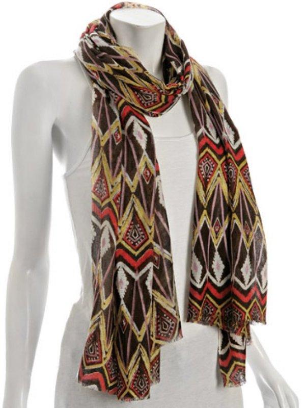 Kashmere chocolate silk-cashmere tribal print wrap