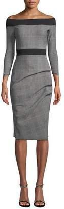 Chiara Boni Larissa Off-the-Shoulder Plaid Dress