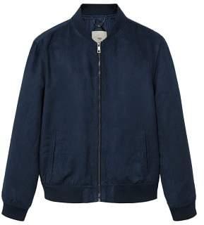 MANGO Faux suede bomber jacket