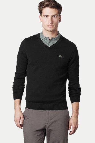 Lacoste Cotton/Jersey V-Neck Sweater