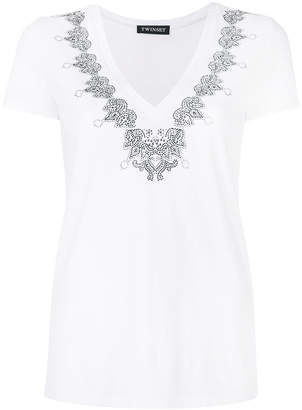 Twin-Set embellished V-neck T-shirt