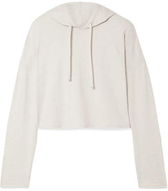 BEIGE We/Me - The Zen Cropped Stretch-jersey Hoodie