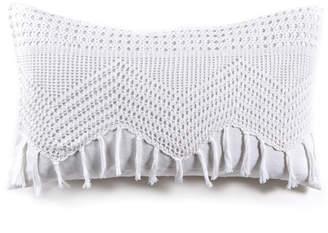 Lulu & Georgia Pom Pom at Home Vintage Crochet Lumbar Pillow, White