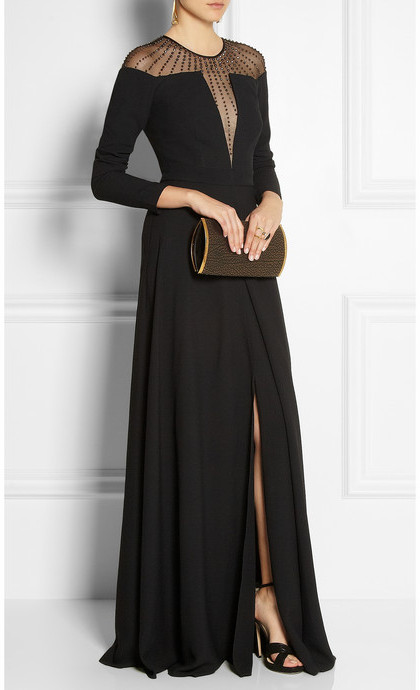 Temperley London Embellished tulle-paneled crepe gown
