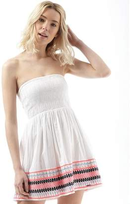 Superdry Womens Summer Folk Bandeau Dress Optic White