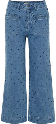Ulla Johnson Niko Embroidered Polka-dot High-rise Flared Jeans - Mid denim