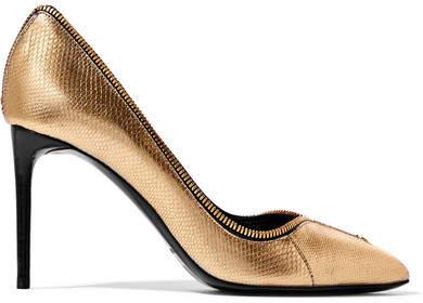 TOM FORD - Zip-embellished Karung Pumps - Gold