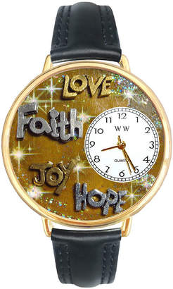 Whimsical Watches Personalized Faith and Love Womens Gold-Tone Bezel Black Leather Strap Watch