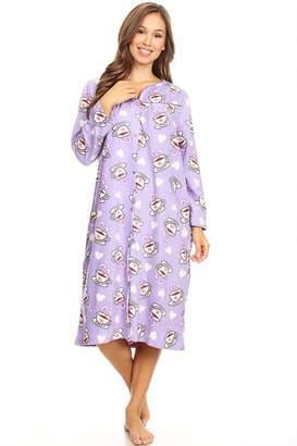 28e8d94495 Lati Fashion 4045 Fleece Womens Nightgown Sleepwear Pajamas Woman Long  Sleeve Sleep Dress Nightshirt Green L