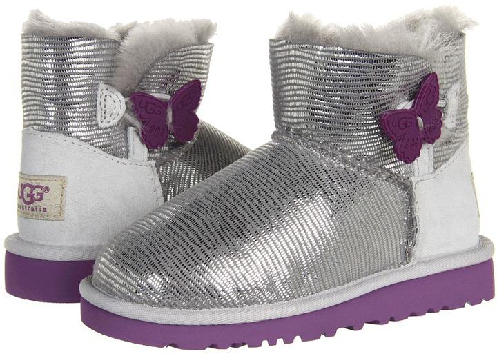 UGG Mini Bailey Button Lizard (Toddler/Little Kid) (Silver) - Footwear