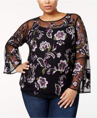 INC International Concepts I.N.C. Plus Size Floral-Embroidered Mesh Top, Created for Macy's