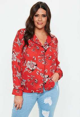 Missguided Curve Red Floral Print Pajama Shirt