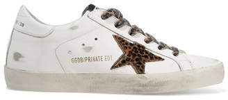 Golden Goose Superstar Leopard-print Calf Hair And Distressed Leather Sneakers - White