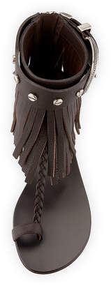 Giuseppe Zanotti Fringed Flat Leather Sandals
