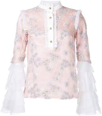 Macgraw daisy print ruffled blouse