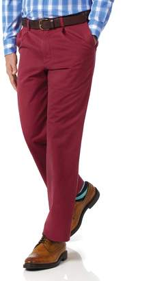 Charles Tyrwhitt Red Classic Fit Single Pleat Washed Cotton Chino Pants Size W32 L32