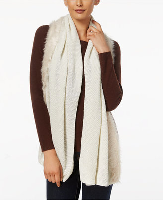 INC International Concepts Faux Fur-Trim Scarf, Only at Macy's $59.50 thestylecure.com