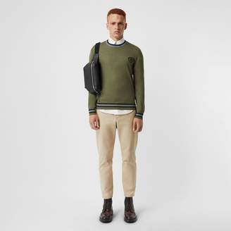 Burberry Embroidered Crest Cotton Silk Sweater
