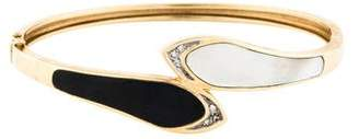 Mother of Pearl 14K Mother Of Pearl, Diamond & Onyx Bangle Bracelet