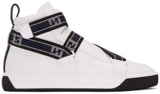 Fendi White Forever Straps High-Top Sneakers