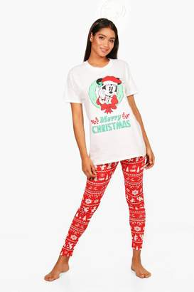 boohoo Georgia Disney Minnie Christmas PJ Trouser Set