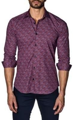 Jared Lang Trim-Fit Printed Button-Down Shirt