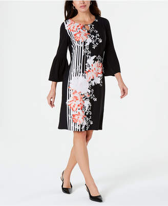 JM Collection Petite Bell-Sleeve Printed Dress