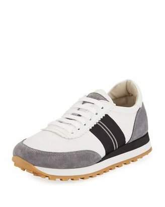 Brunello Cucinelli Suede and Nylon Platform Trainer Sneakers