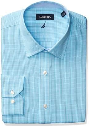 Nautica Men's Plaid Spread Collar Dress Shirt