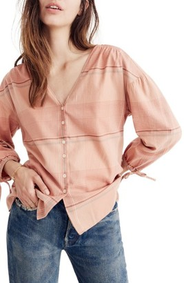 Women's Madewell V-Neck Tie Sleeve Top $79.50 thestylecure.com
