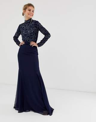 Virgos Lounge all over embellished long sleeve maxi dress in navy