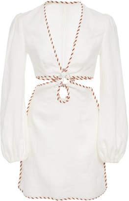 Zimmermann Braid-Trimmed Cutout Linen Mini Dress