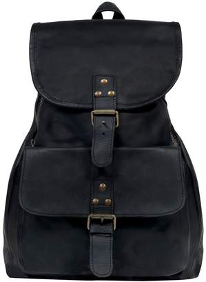 MAHI Leather - Leather Explorer Backpack Rucksack Womens in Ebony Black