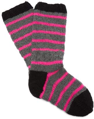 La Fetiche - Hockney Striped Wool Socks - Womens - Grey Multi