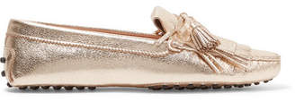 Fringed Metallic Textured-leather Loafers - Gold