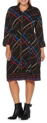 Rafaella Plus Printed Belted Shirtdress