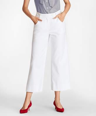 Brooks Brothers Stretch Cotton Wide-Leg Cropped Pants