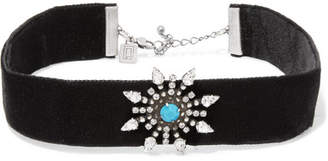 Dannijo Del Velvet, Oxidized Silver-plated And Swarovski Crystal Choker - Black