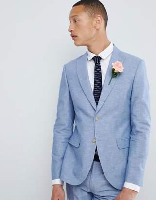 Moss Bros Skinny Linen Wedding Suit Jacket In Blue