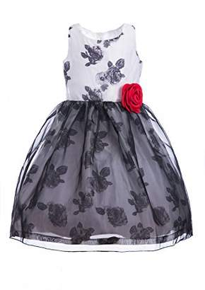 Emma Riley Girls' Sleeveless Printed Floral Tulle Princess Party Dress Rosette Flower