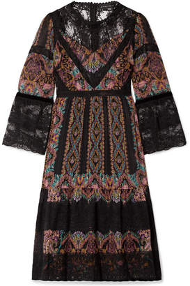 Etro Lace-paneled Printed Silk-crepon Dress - Black