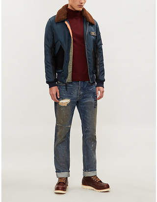 Schott Shearling and padded shell bomber jacket