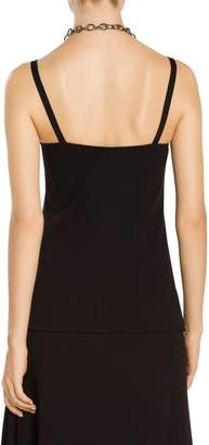 St. John Luxe Nappa Leather V-Neck Shell